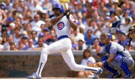 CHICAGO - 1987: Andre Dawson #8 of the Chicago Cubs follows through on his swing during a game with the Los Angeles Dodgers in 1987 at Wrigley Field in Chicago, Illinois. (Photo by Jonathan Daniel/Getty Images)