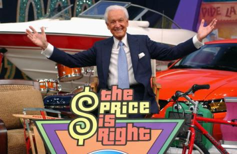 "LOS ANGELES - FEBRUARY 12: Game show host Bob Barker poses amongst a sea of prizes at the ""Price is Right"" 6,000th show taping on February 12, 2004 at the CBS Television Studio, in Los Angeles, California. (Photo by Amanda Edwards/Getty Images)"
